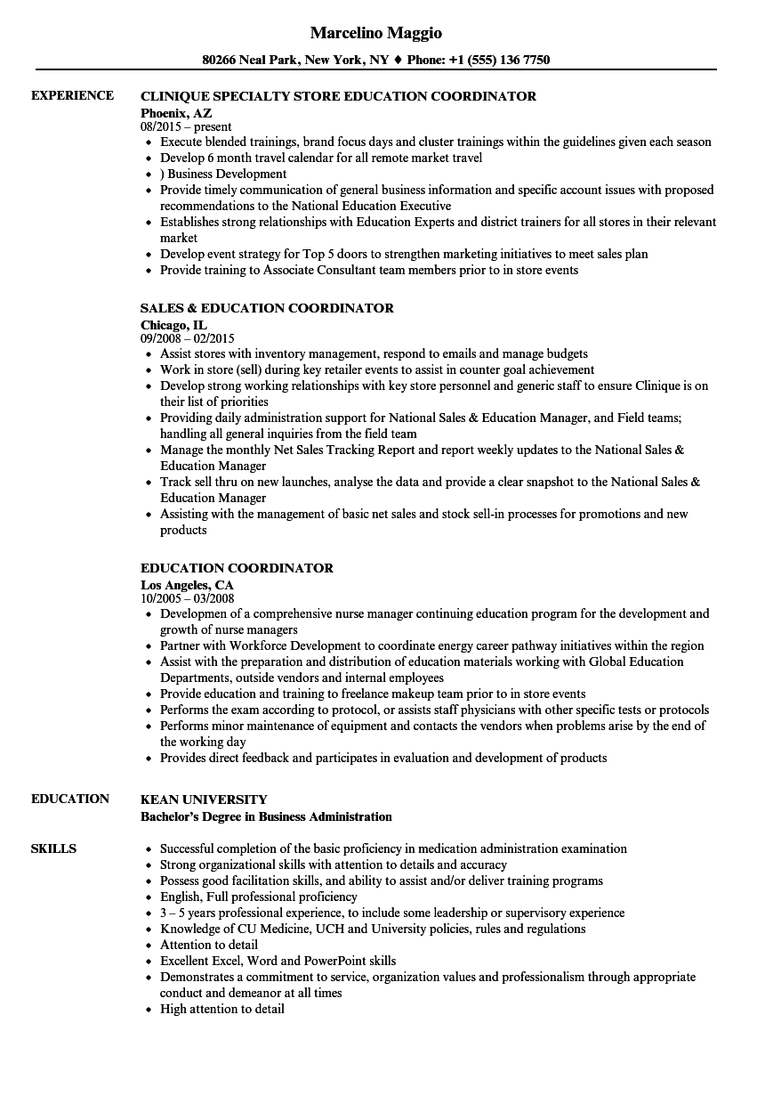 Sample Resume Of Education Coordinator Education