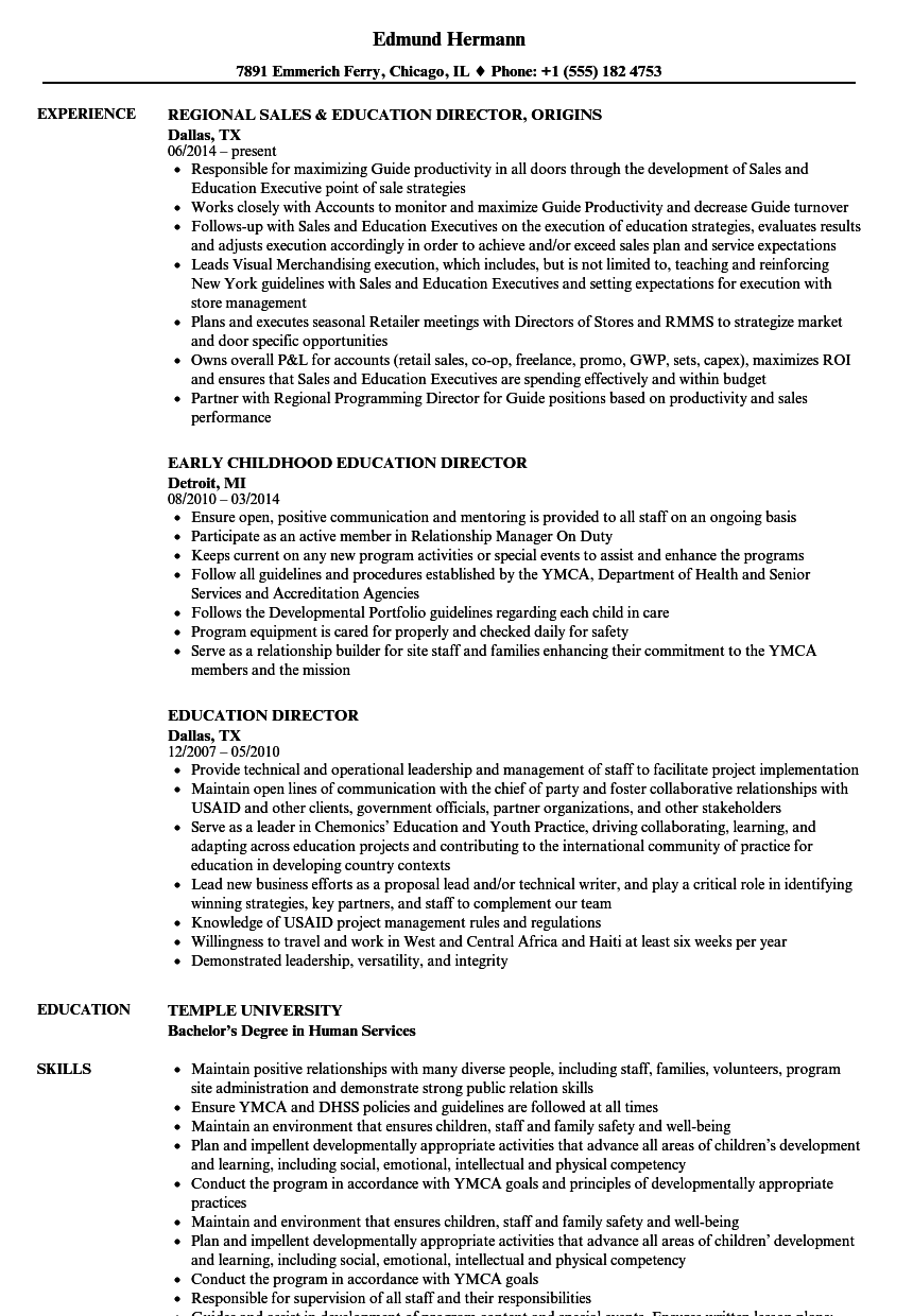 education director resume samples