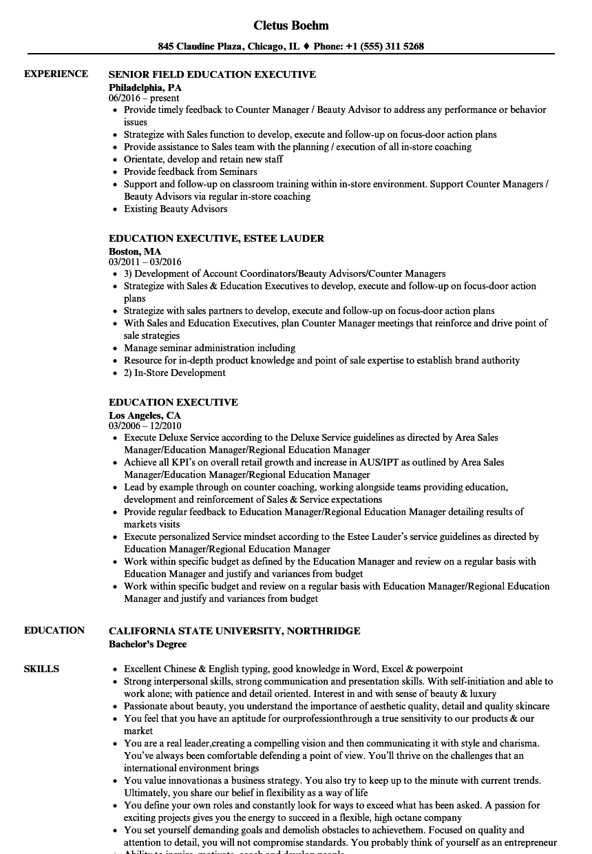 education executive resume samples