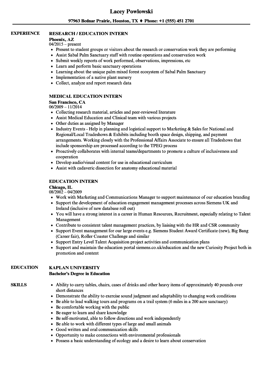 education intern resume samples