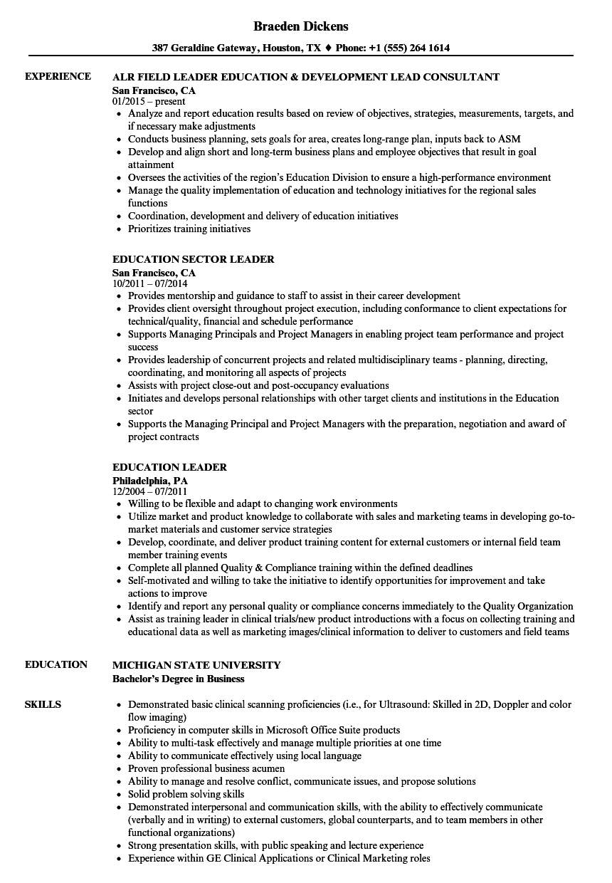 Education Leader Resume Samples | Velvet Jobs