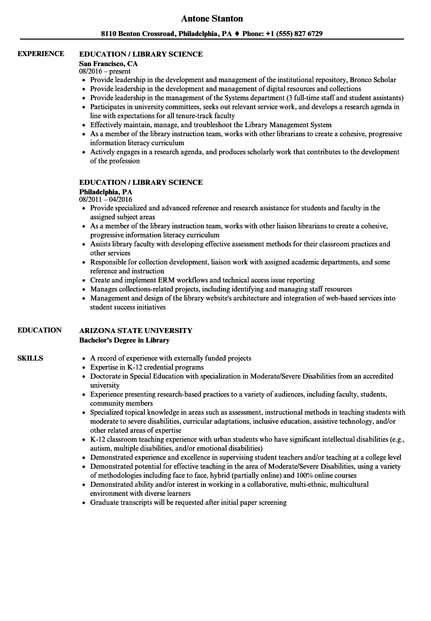 Education / Library Science Resume Samples | Velvet Jobs
