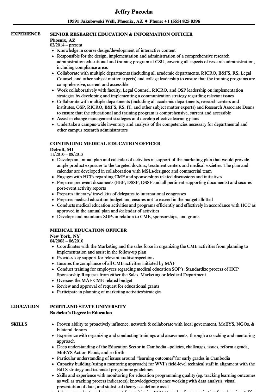 Education Officer Resume Samples | Velvet Jobs