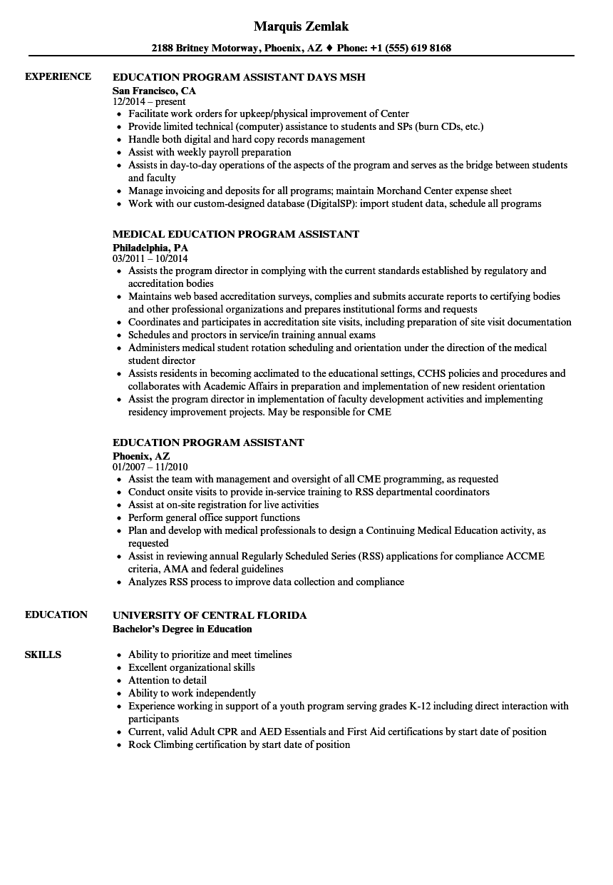 education program assistant resume samples