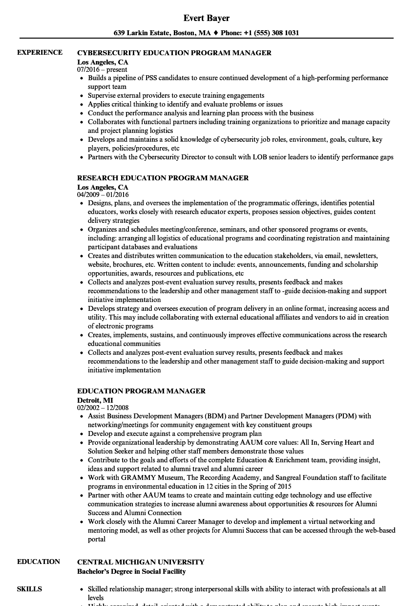 Program Manager Resume Stunning Education Program Manager Resume Samples Velvet Jobs