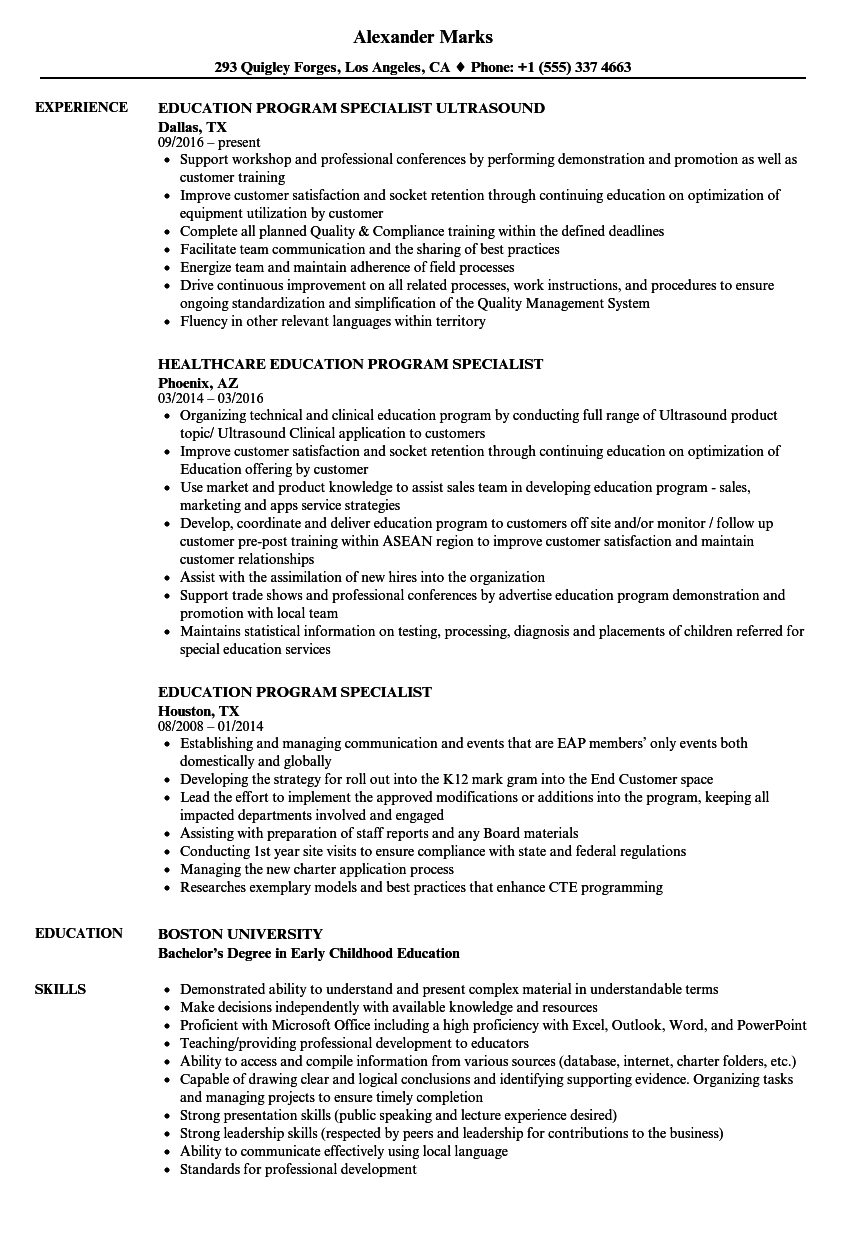 education program specialist resume samples velvet jobs