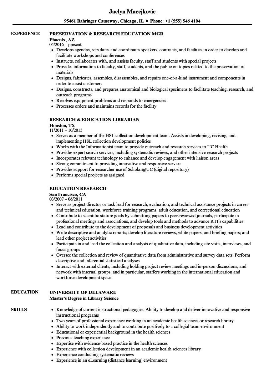 download education research resume sample as image file - Library Science Resume Examples
