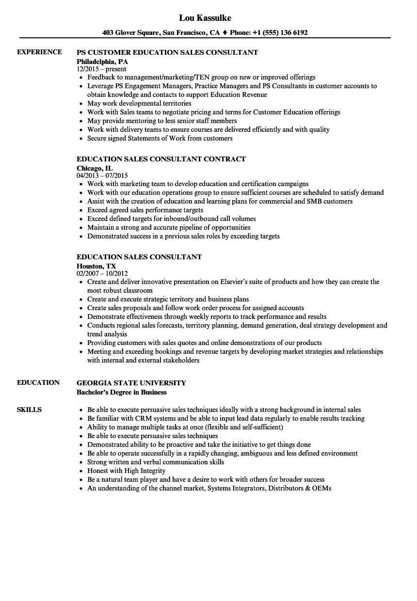 Education Sales Consultant Resume Samples Velvet Jobs