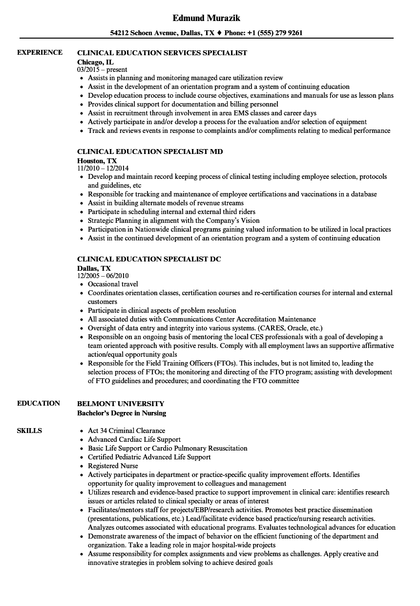 education specialist clinical education resume samples