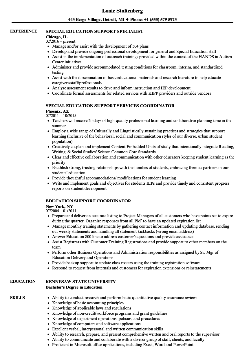 education support resume samples