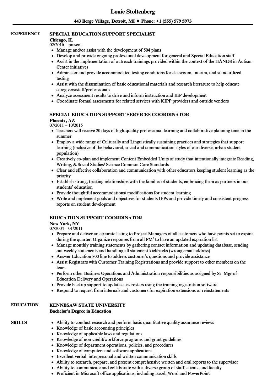 Education Support Resume Samples | Velvet Jobs