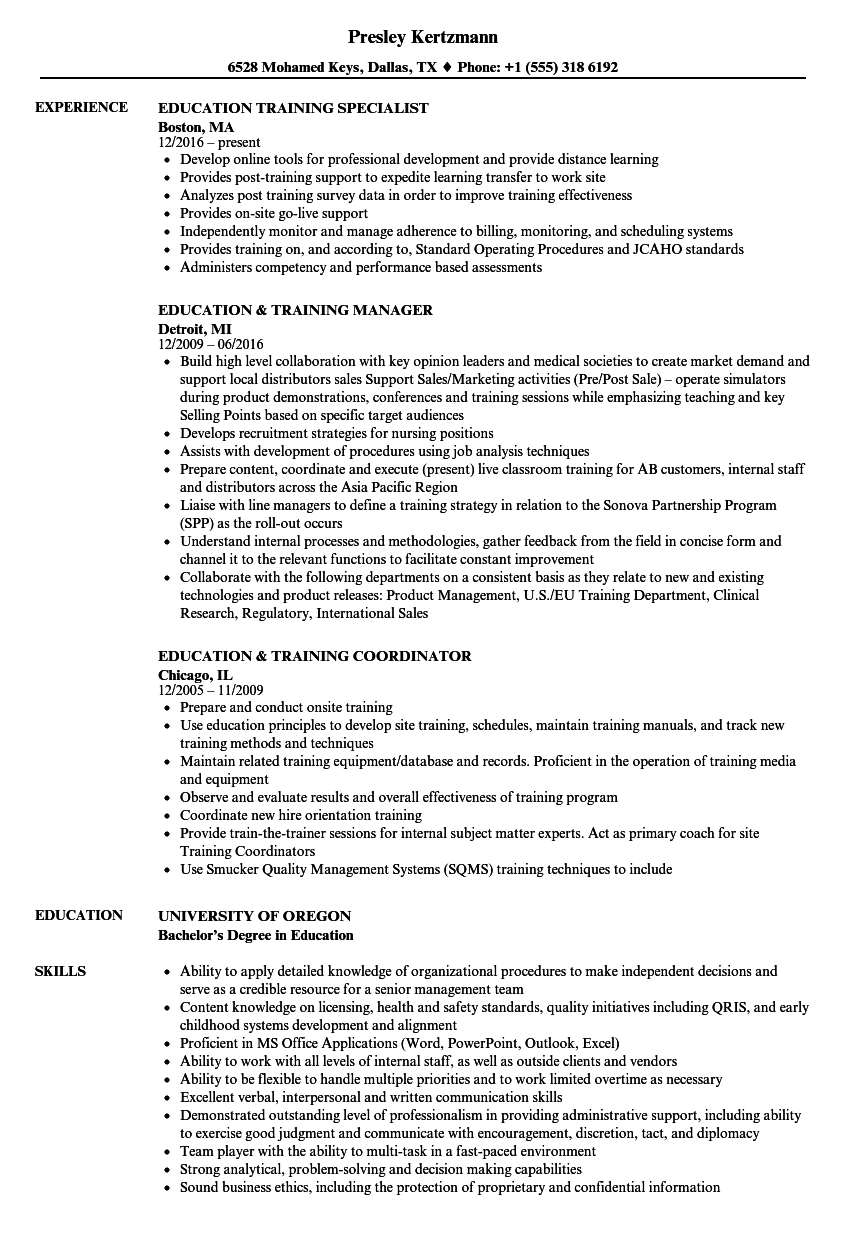 education  u0026 training resume samples