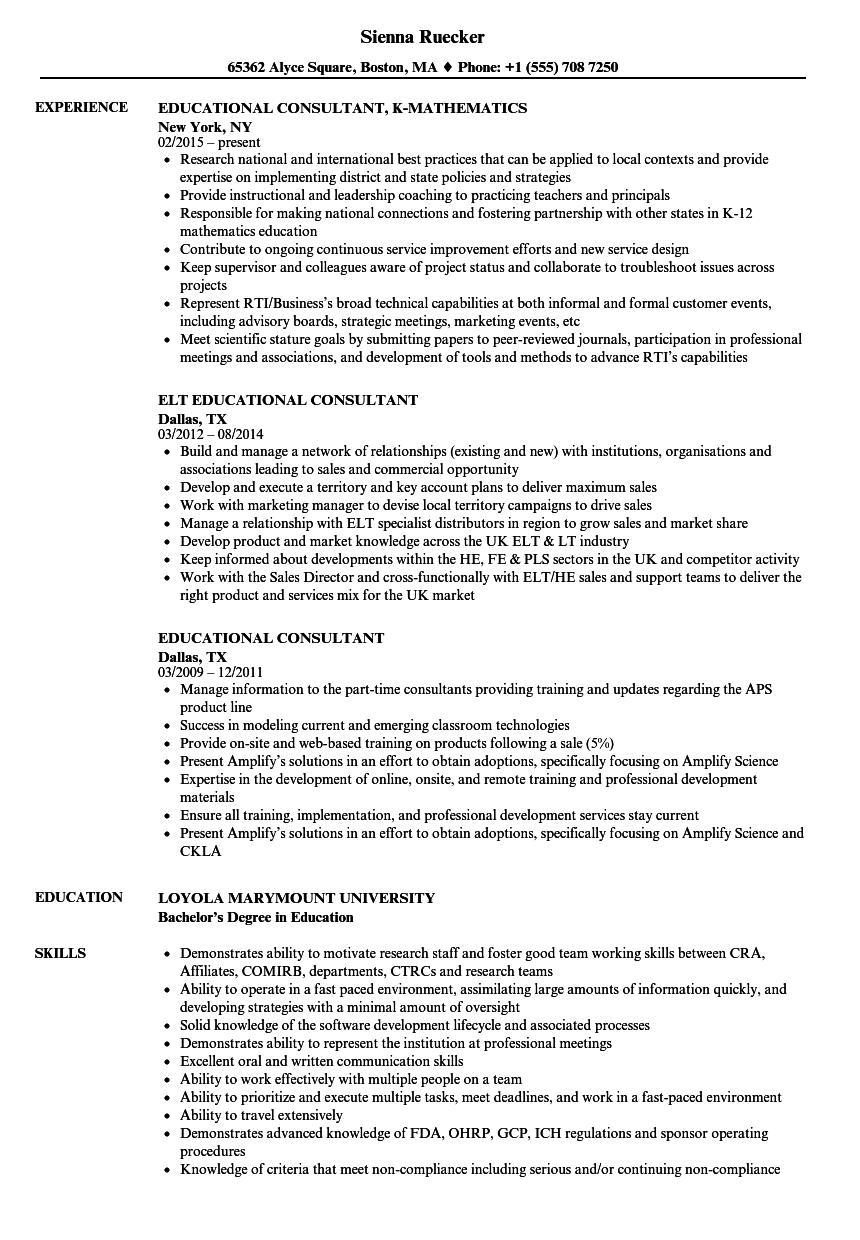 educational consultant resume samples
