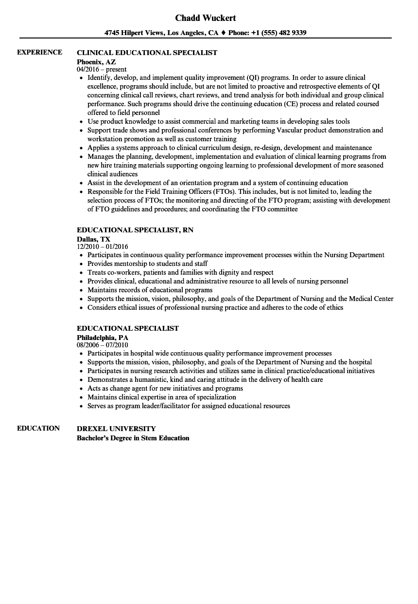 educational specialist resume samples