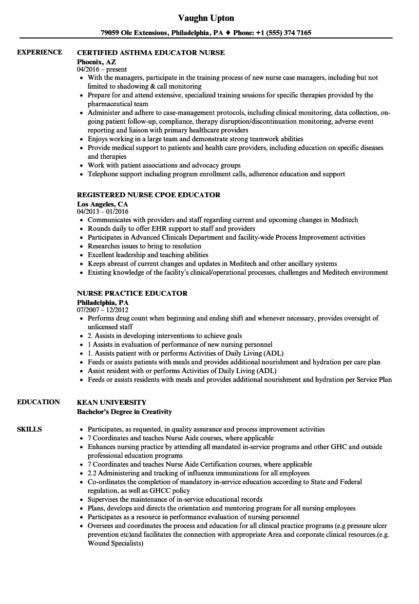 educator nurse resume samples