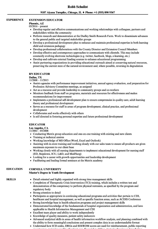 educator resume samples velvet jobs