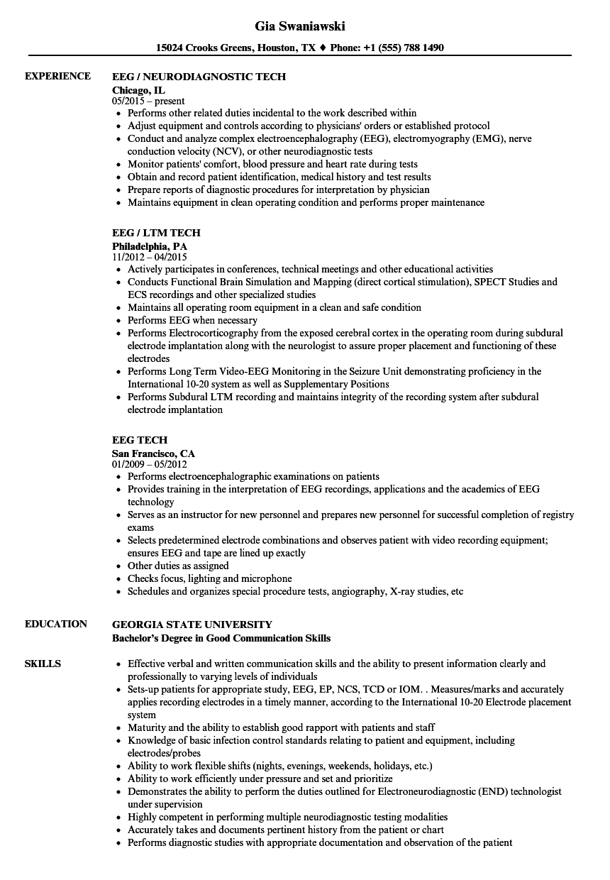 eeg tech resume samples