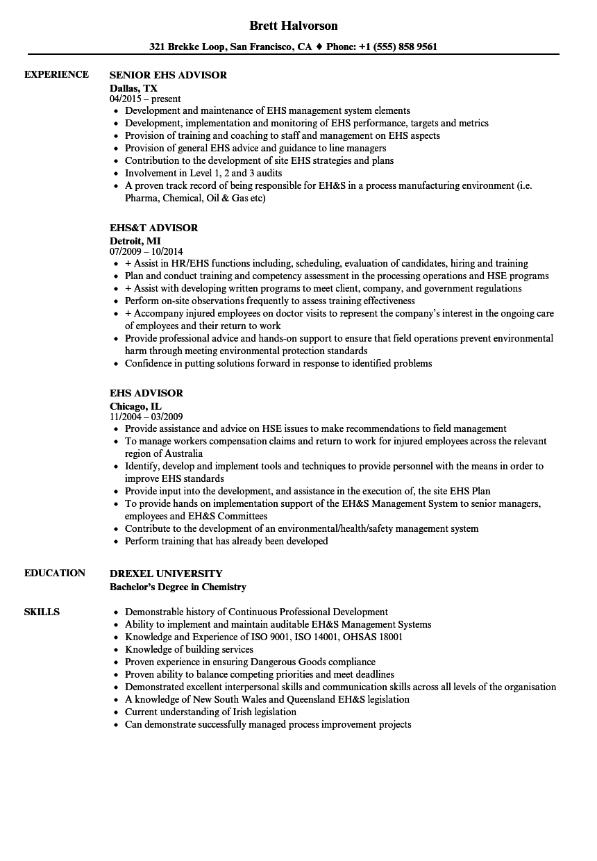 ehs advisor resume samples