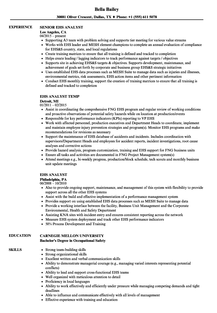 EHS Analyst Resume Samples | Velvet Jobs