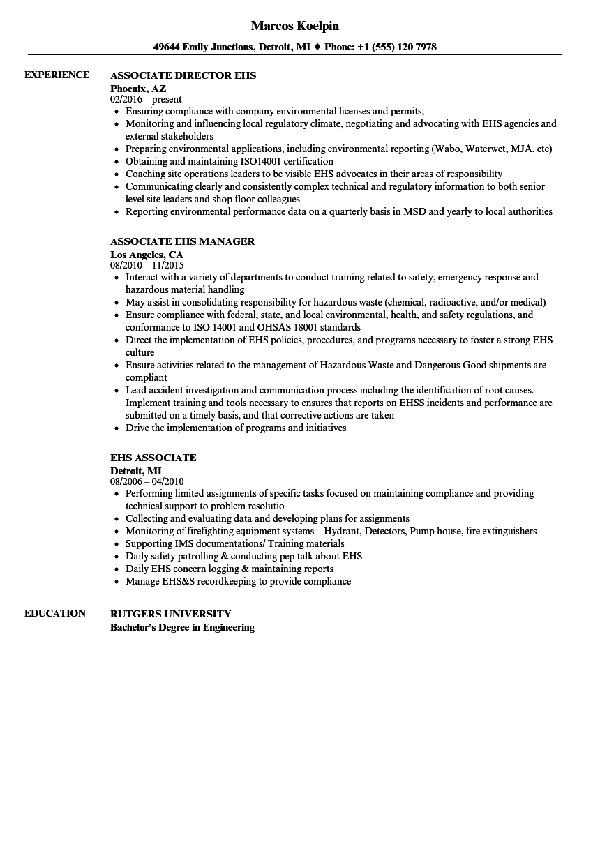 EHS Associate Resume Samples | Velvet Jobs