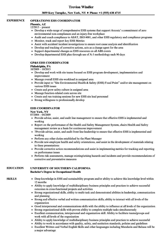 ehs coordinator resume samples velvet jobs