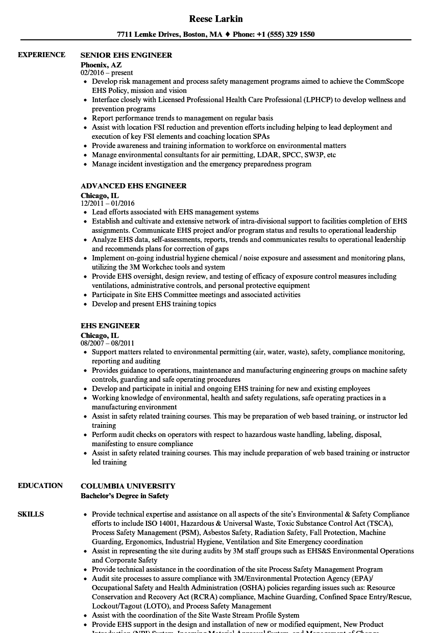 Ehs Engineer Resume Samples | Velvet Jobs