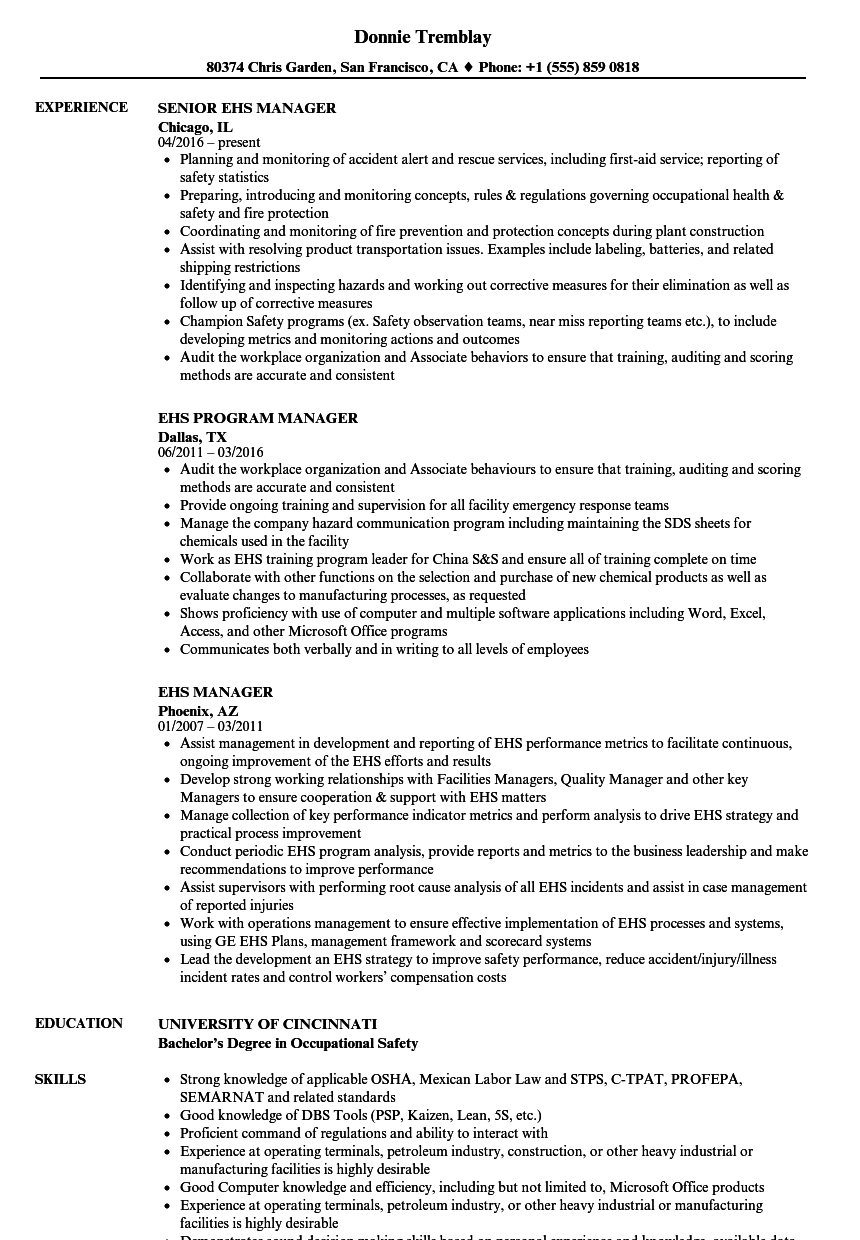 Ehs Manager Resume Samples | Velvet Jobs