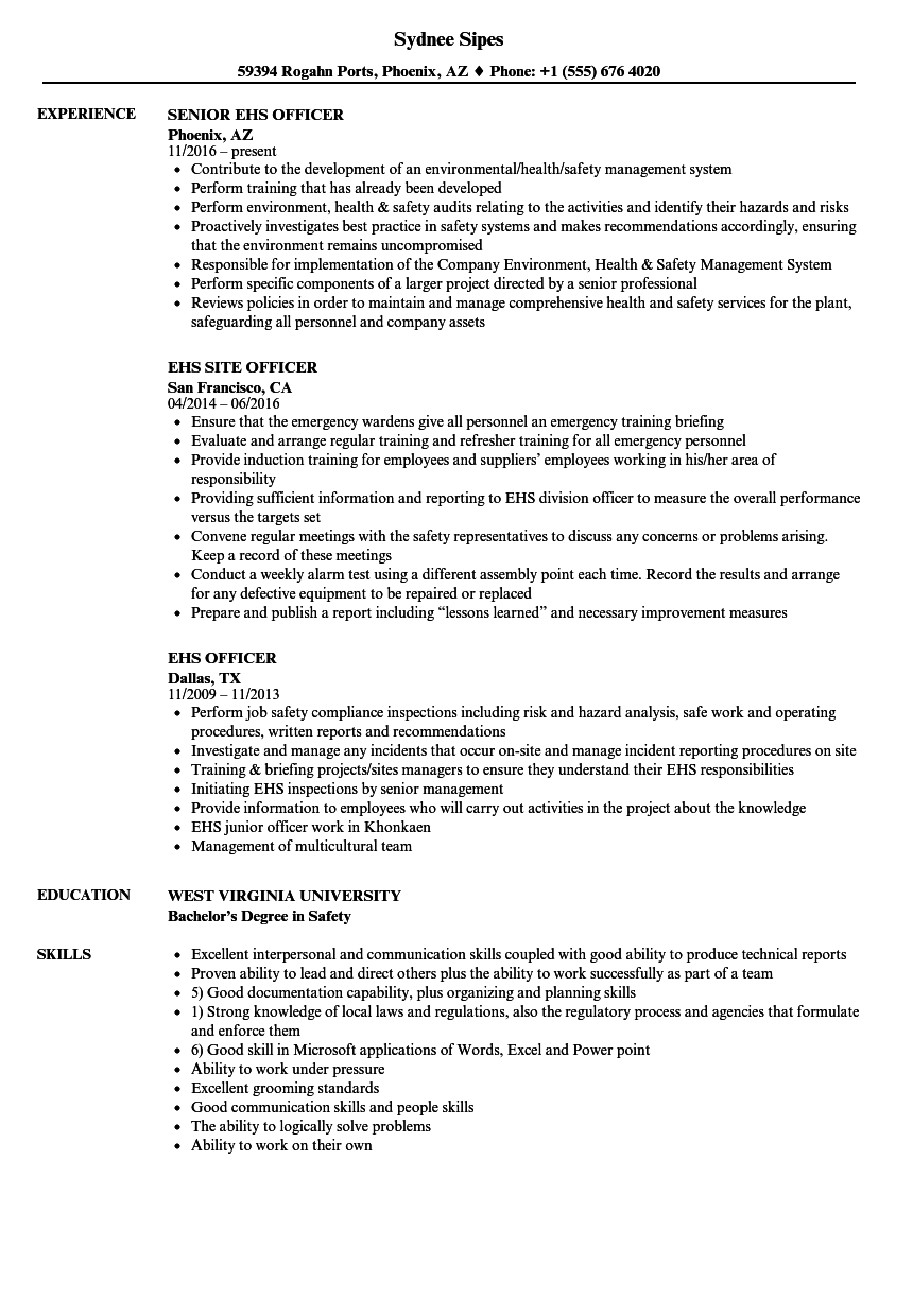 EHS Officer Resume Samples | Velvet Jobs