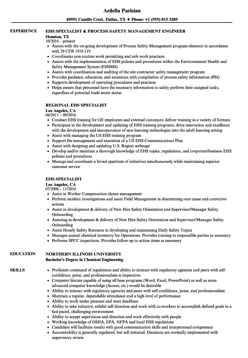 EHS Specialist Resume Samples | Velvet Jobs