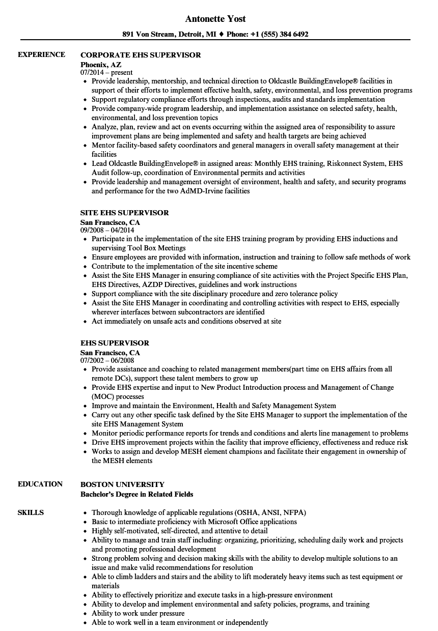 Ehs Supervisor Resume Samples | Velvet Jobs