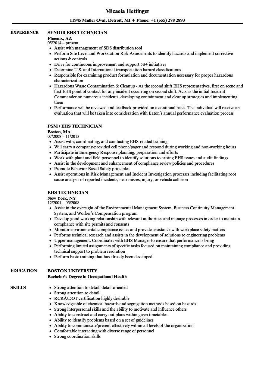EHS Technician Resume Samples | Velvet Jobs