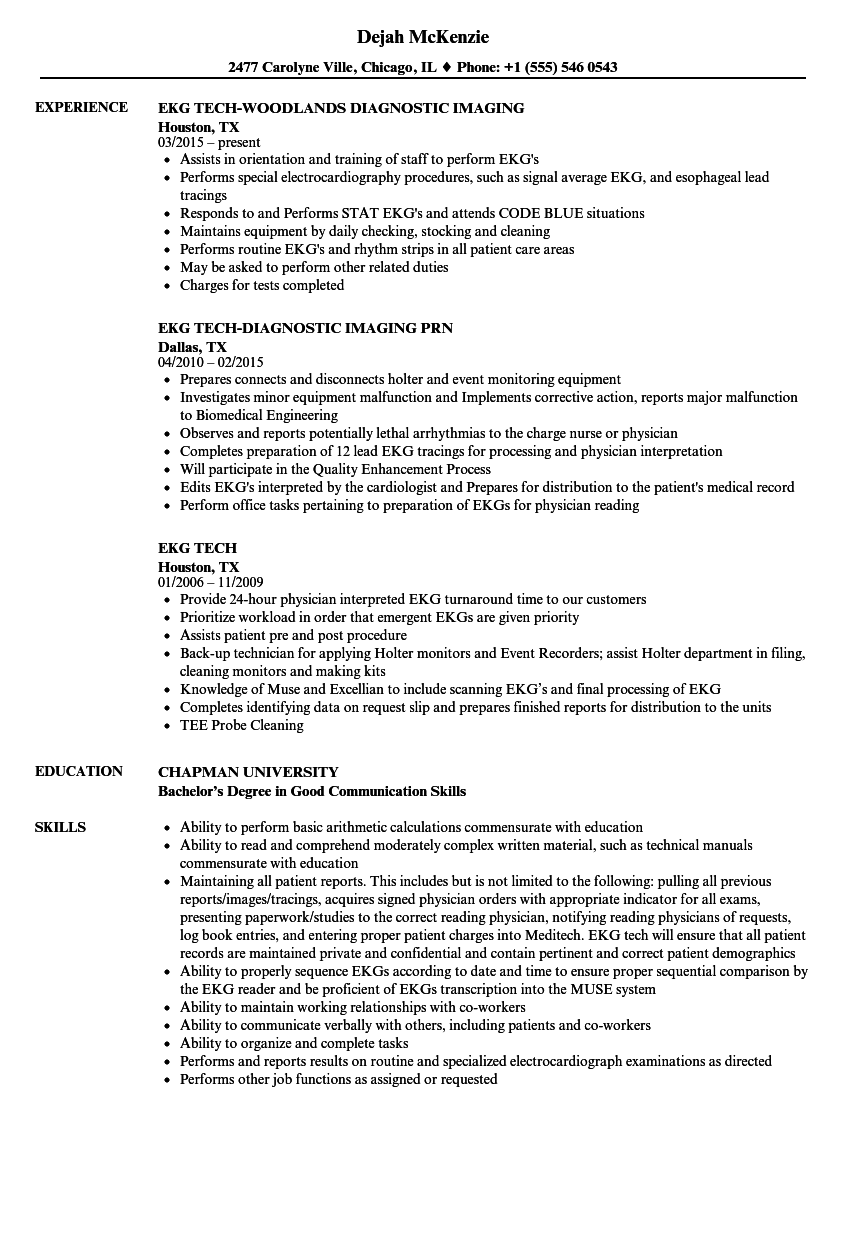 Ekg Tech Resume Samples Velvet Jobs