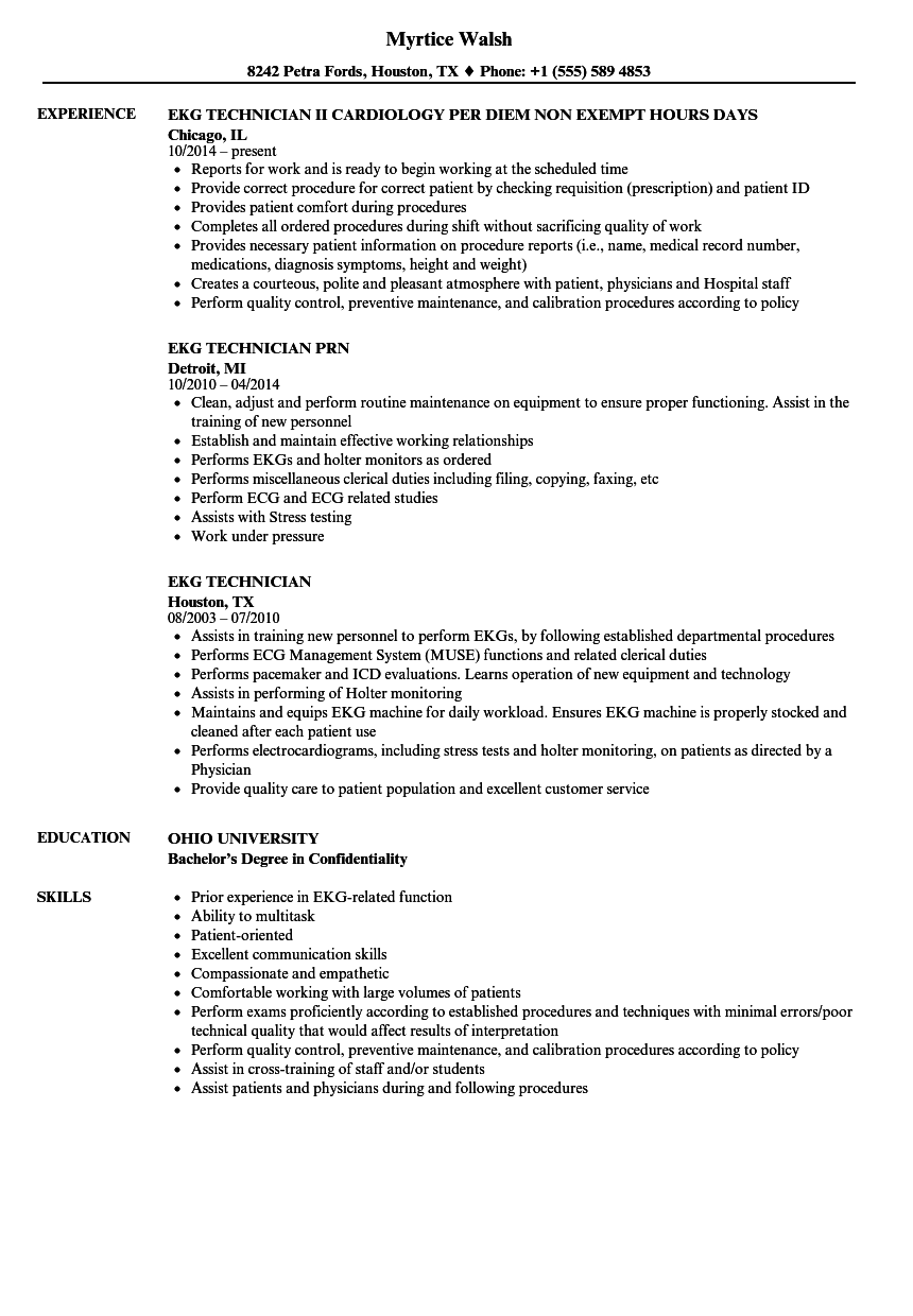 ekg technician resume samples velvet jobs
