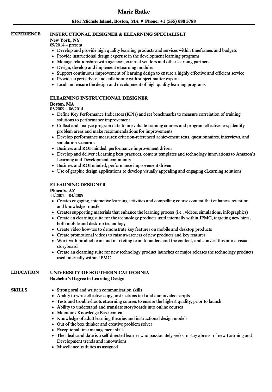 elearning designer resume samples