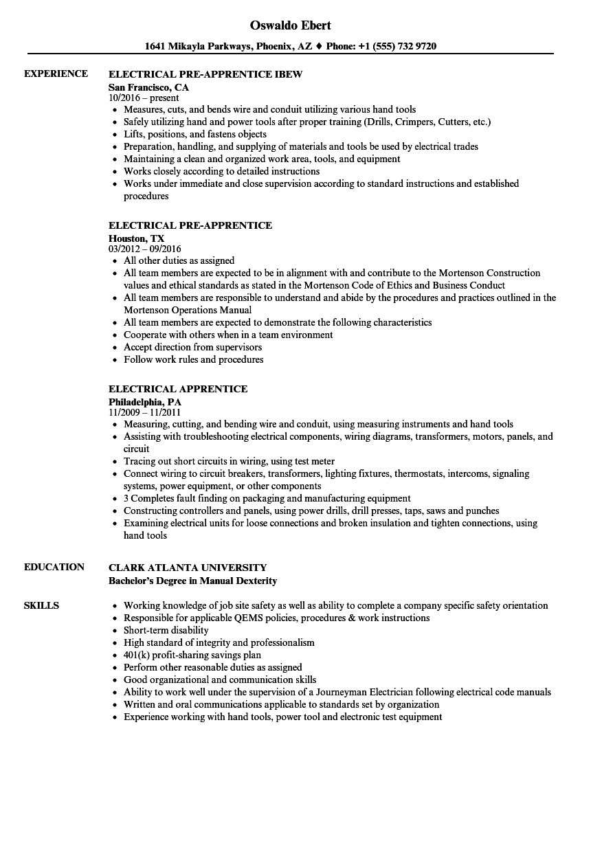 Electrical Apprentice Resume Samples | Velvet Jobs