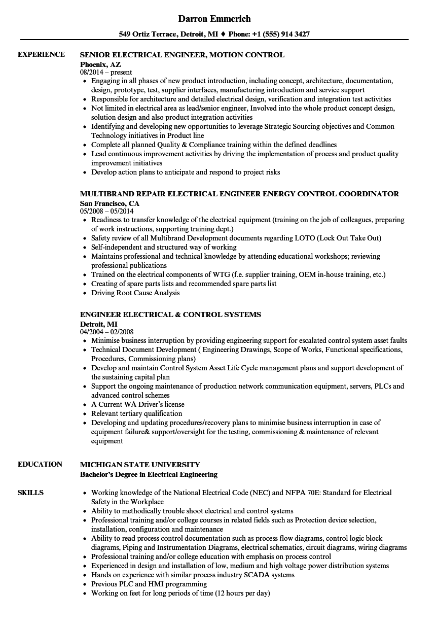 Electrical Control Engineer Resume Samples  Velvet Jobs