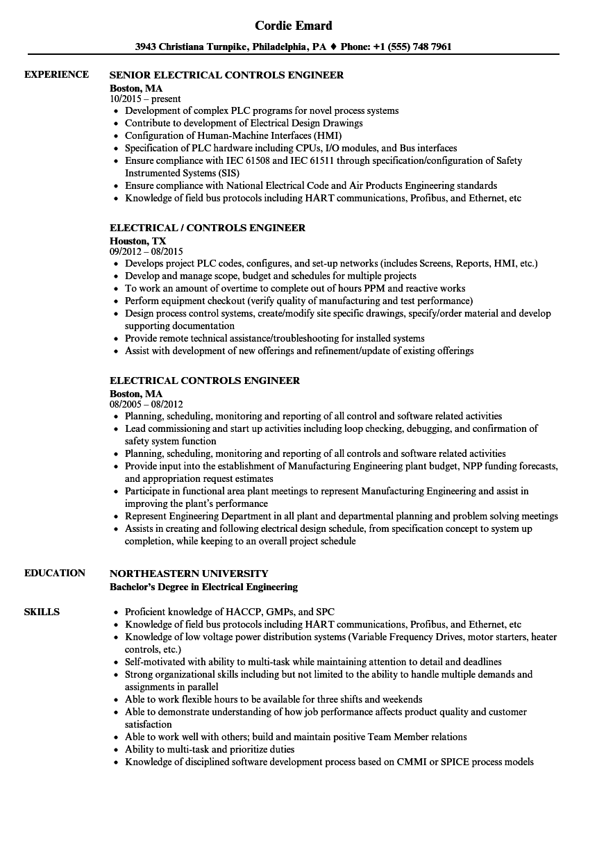 Electrical Controls Engineer Resume Samples Velvet Jobs