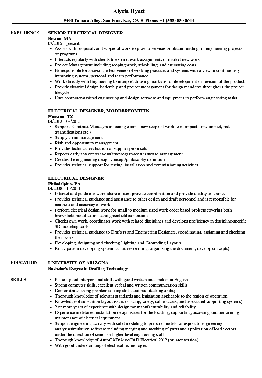 Electrical Designer Resume Samples Velvet Jobs