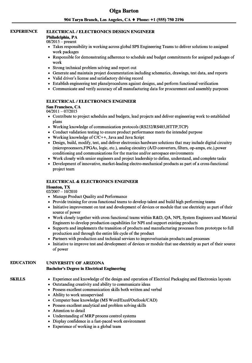 Download Electrical Engineer / Electronics Engineer Resume Sample As Image  File