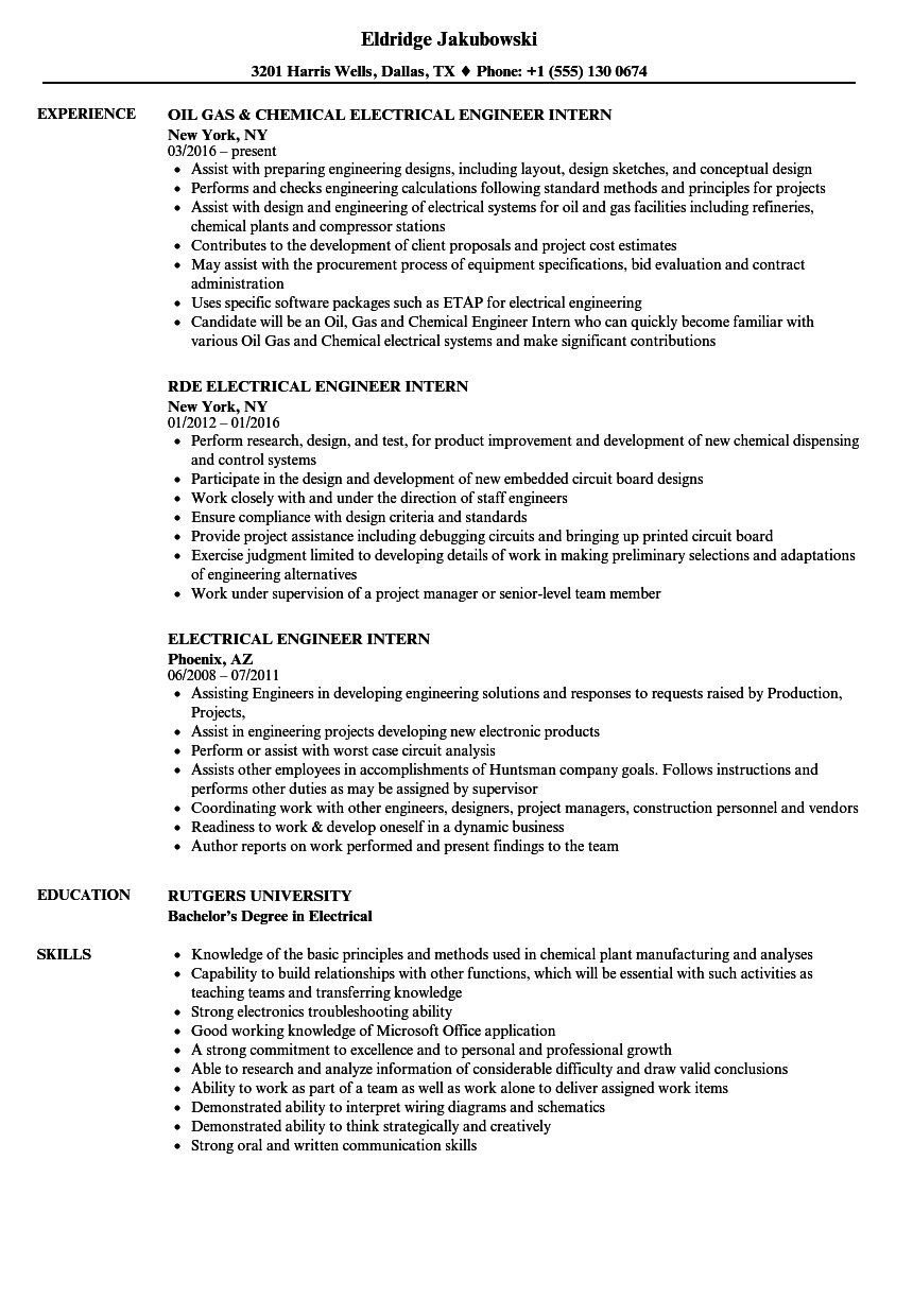 Electrical Engineer Intern Resume Samples | Velvet Jobs