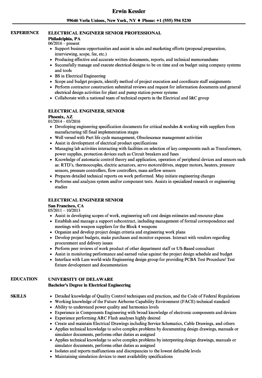Download Electrical Engineer Senior Resume Sample As Image File