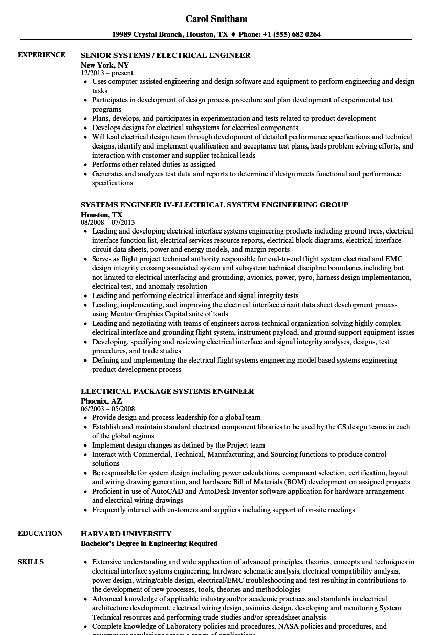 download electrical engineer systems engineer resume sample as image file - Electrical Engineer Resume Sample