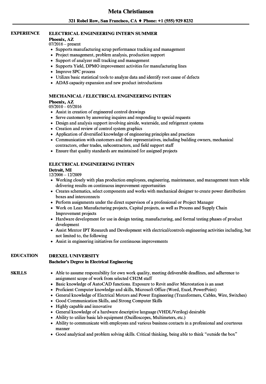 Electrical Engineering Intern Resume Samples | Velvet Jobs