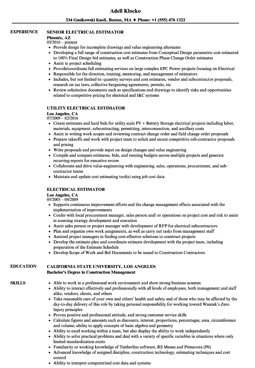 Download Electrical Estimator Resume Sample As Image File
