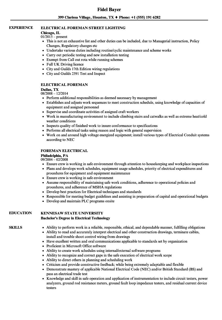Electrical Foreman Resume Samples Velvet Jobs