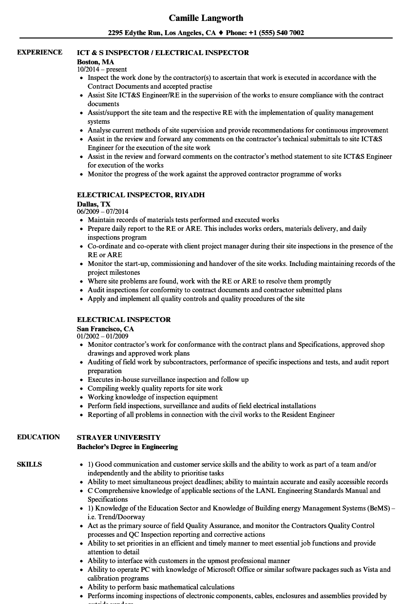 Electrical Inspector Resume Samples | Velvet Jobs