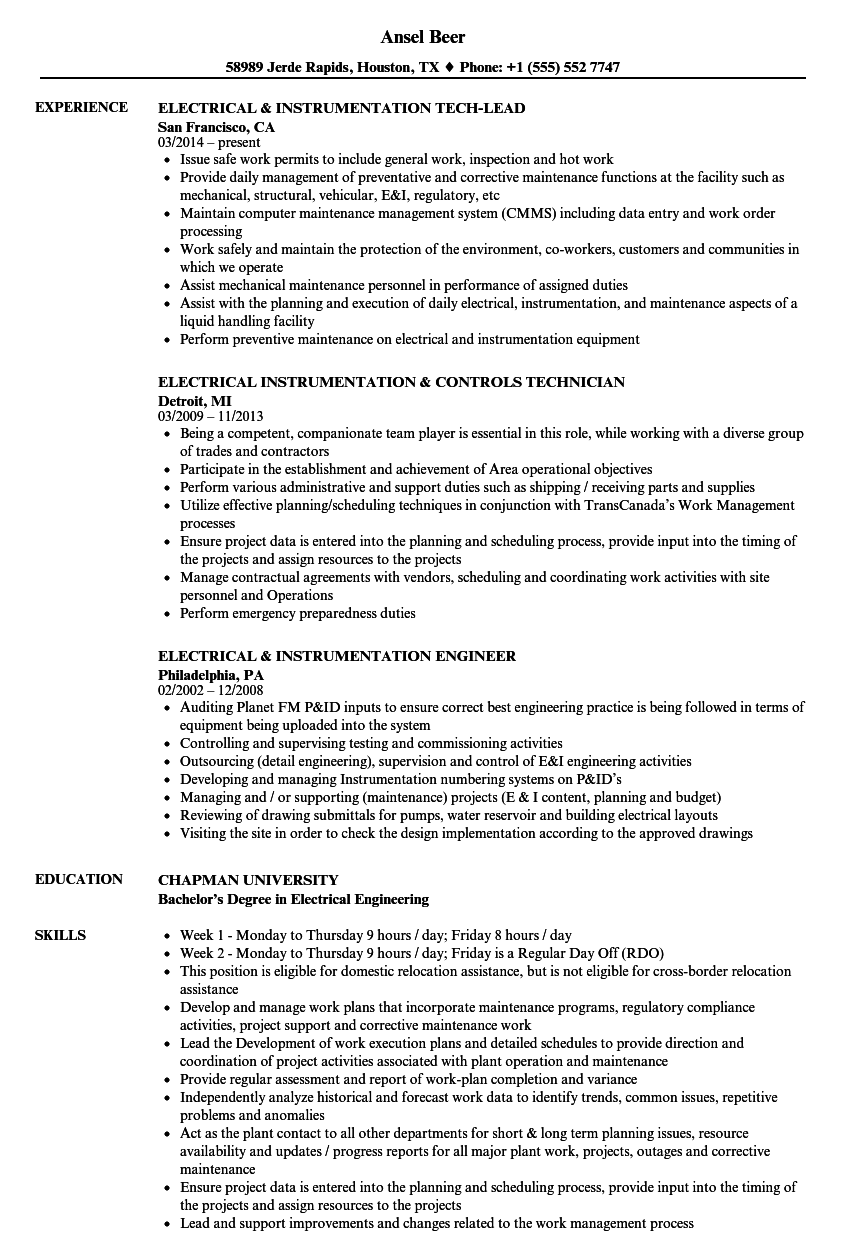 Electrical Instrumentation Resume Samples Velvet Jobs