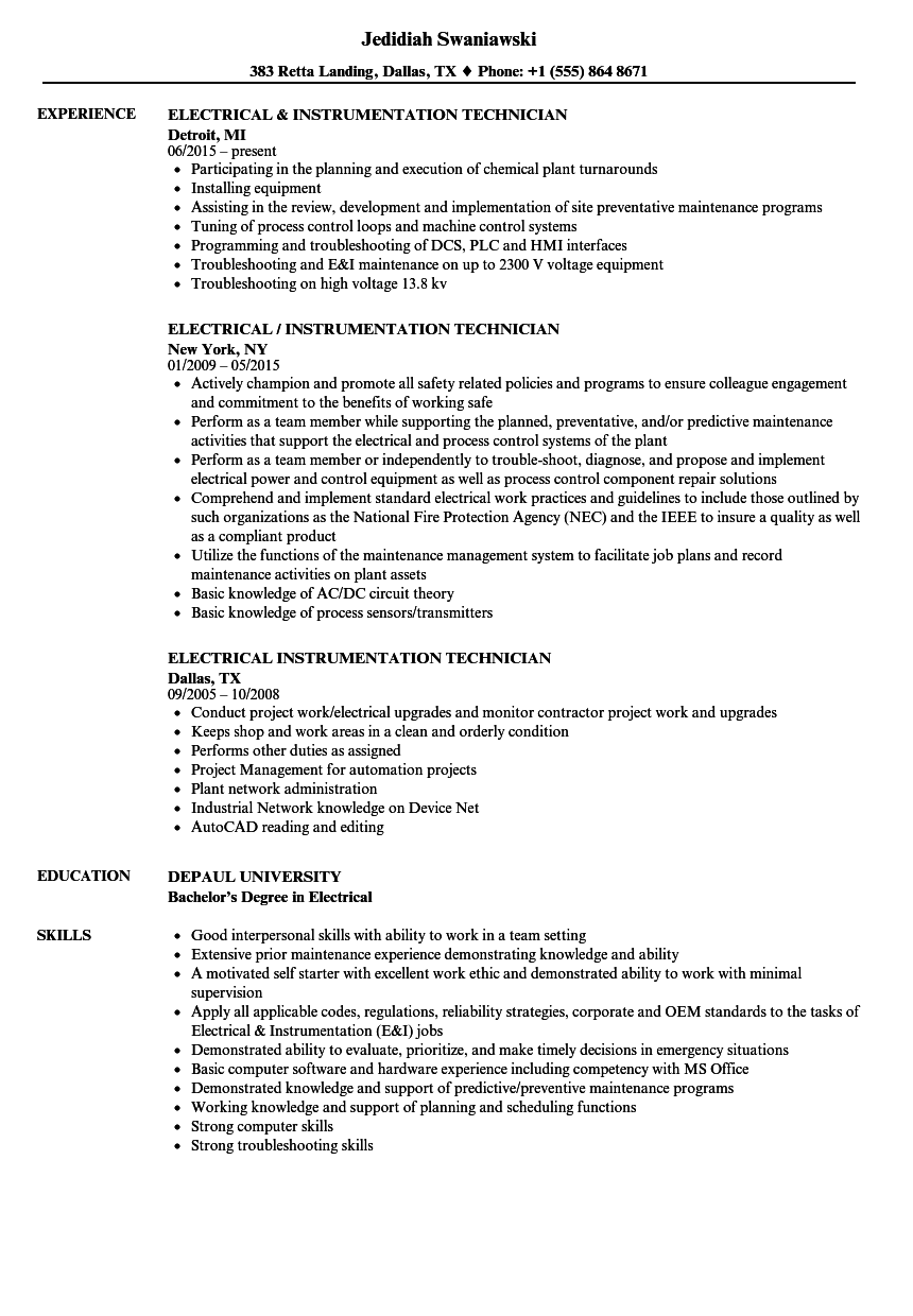 download electrical instrumentation technician resume sample as image file - Wastewater Technician Resume Sample