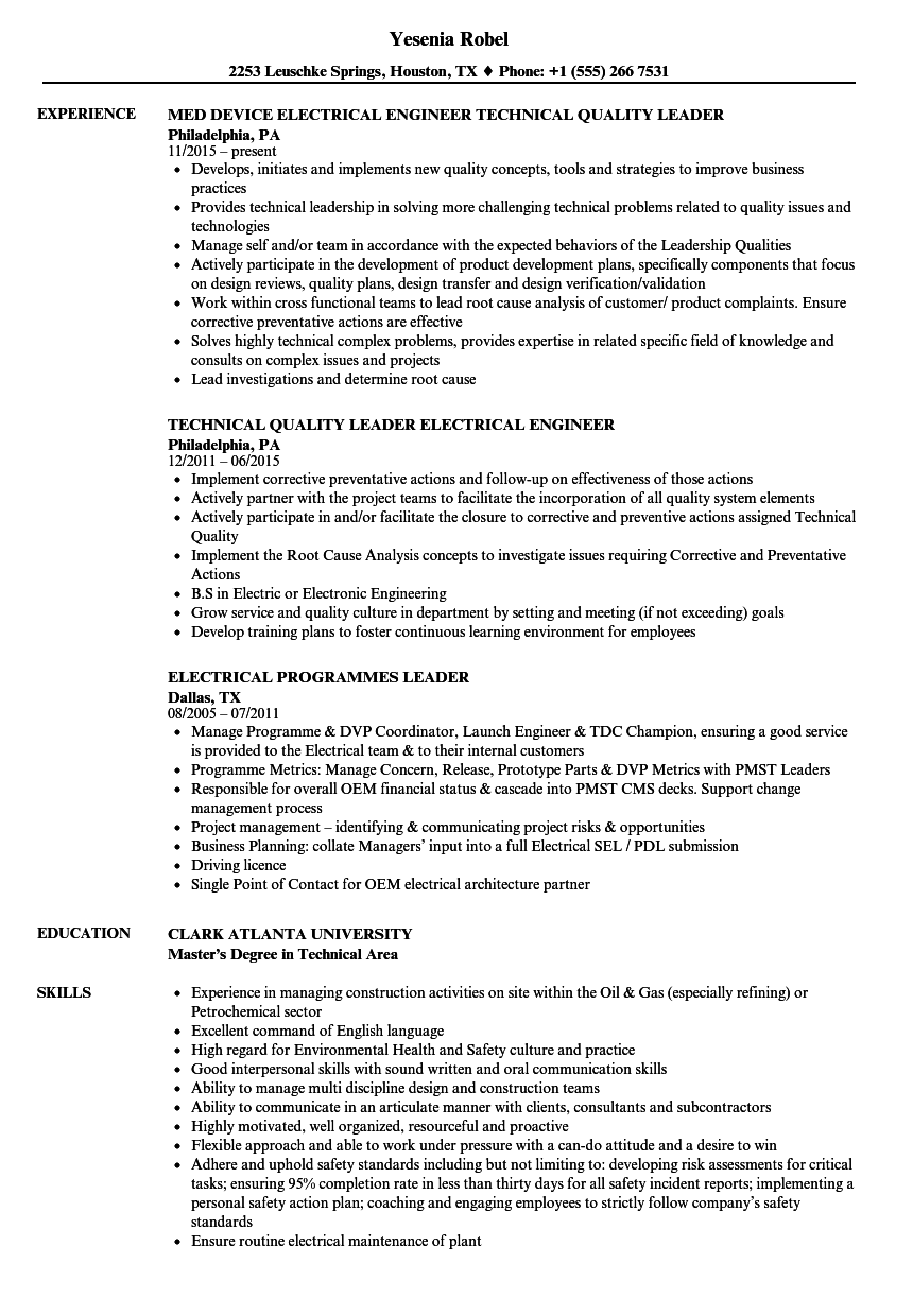 electrical leader resume samples