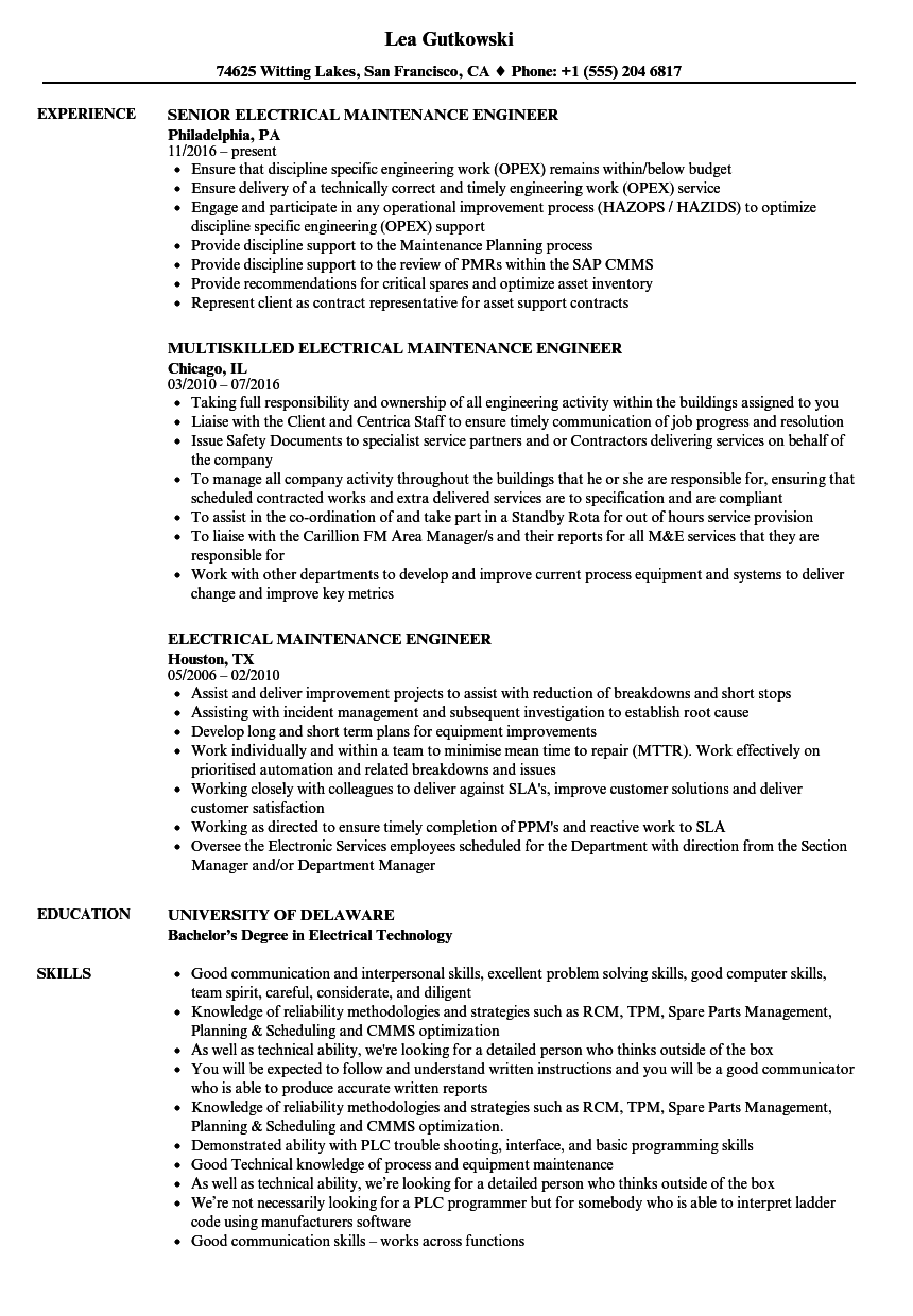 electrical maintenance engineer resume samples velvet jobs